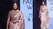 Malavika Mohanan walks the ramp in Saree at Lakme Fashion Week 2019 | FilmiBeat