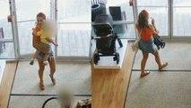 Frau stiehlt Kinderwagen und vergisst Kind