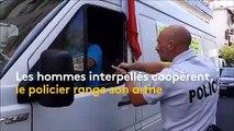 [VIDEO] Un policier a braqué son arme sur 2 hommes conduisant un fourgon avec des affiches anti G7Biarritz et anti Macron