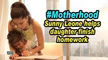 #Motherhood: Sunny Leone helps daughter finish homework