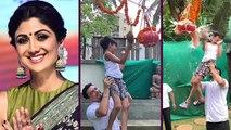 Shilpa Shetty's son Viaan Raj Kundra breaks dahi handi on Janamashtami; Watch video | FilmiBeat