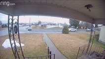 Driver Knocks Down Stop Sign and Crashes Into House With Loud Bang