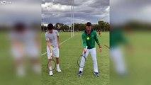 Djokovic jongle avec sa raquette et une balle de tennis !