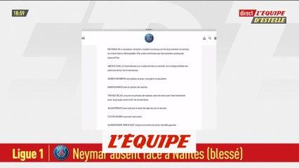 Neymar absent face à Nantes - Foot - L1 - PSG