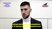 Hockey sur glace Interview de Swann Nepveu de Villemarceau, # 15 Défenseur des Sangliers Arvernes de Clermont-Ferrand, 01/02/2020 (D1 - 21J - Clermont-Ferrand VS Neuilly sur Marne)
