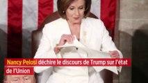 Nancy Pelosi déchire le discours de Trump sur l'état de l'Union