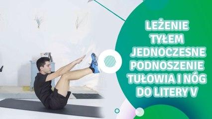 Leżenie tyłem, jednoczesne podnoszenie tułowia i nóg do litery V - Jesteś Fit