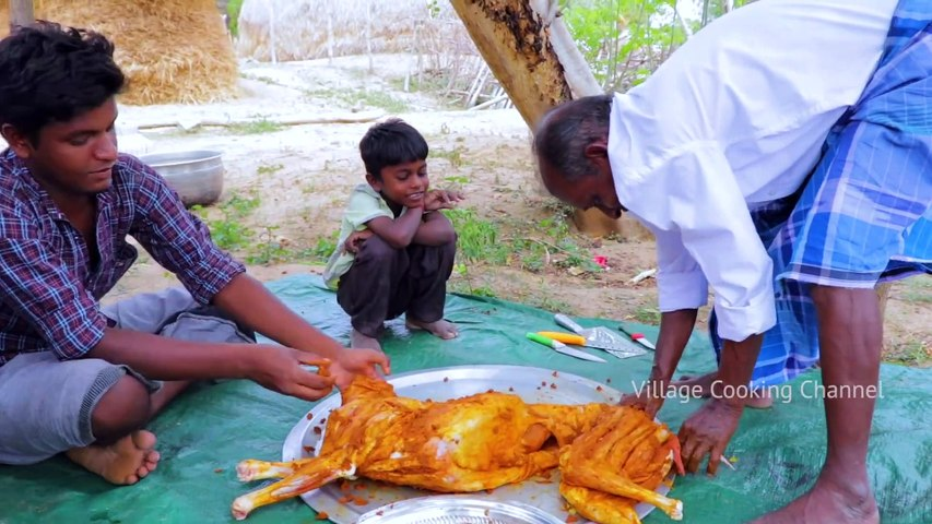 FULL GOAT FRY - Cooking and Eating - Grandpa Cooking Full Goat Fry - Village Cooking Channel   Godialy.com