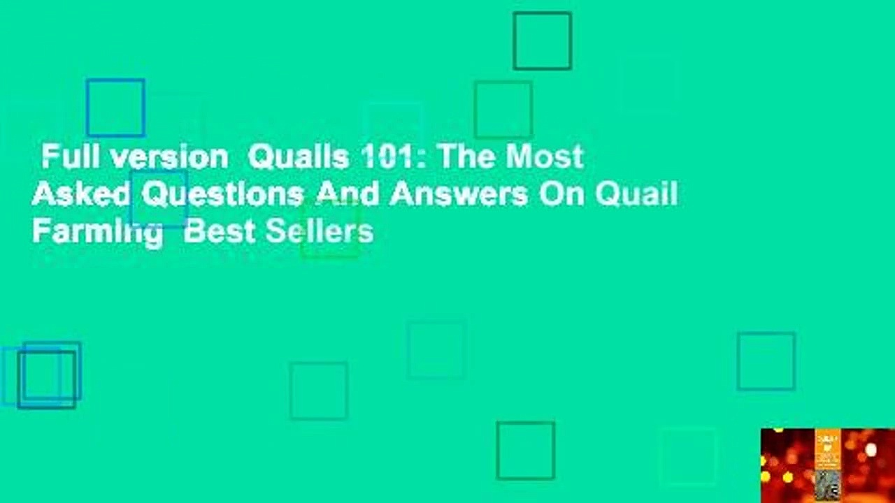 Full version  Quails 101: The Most Asked Questions And Answers On Quail Farming  Best Sellers
