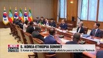 S. Korean and Ethiopian leaders pledge efforts for peace on the Korean Peninsula