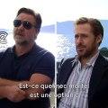 """""""LSD ou weed ? Boire ou conduire ? French kiss ou French Fries ?""""  Le Fast & Curious barré de Ryan Gosling et Russel Crowe, à l'occasion de la sortie de The Nice Guys"""