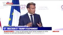 """Taxe Gafa: Emmanuel Macron se félicite d'avoir trouvé avec Donald Trump """"un accord qui est bon de part et d'autre"""""""