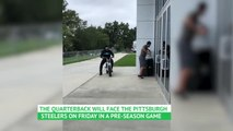 VIRAL: American Football: Cam Newton rides bike to Panthers practice