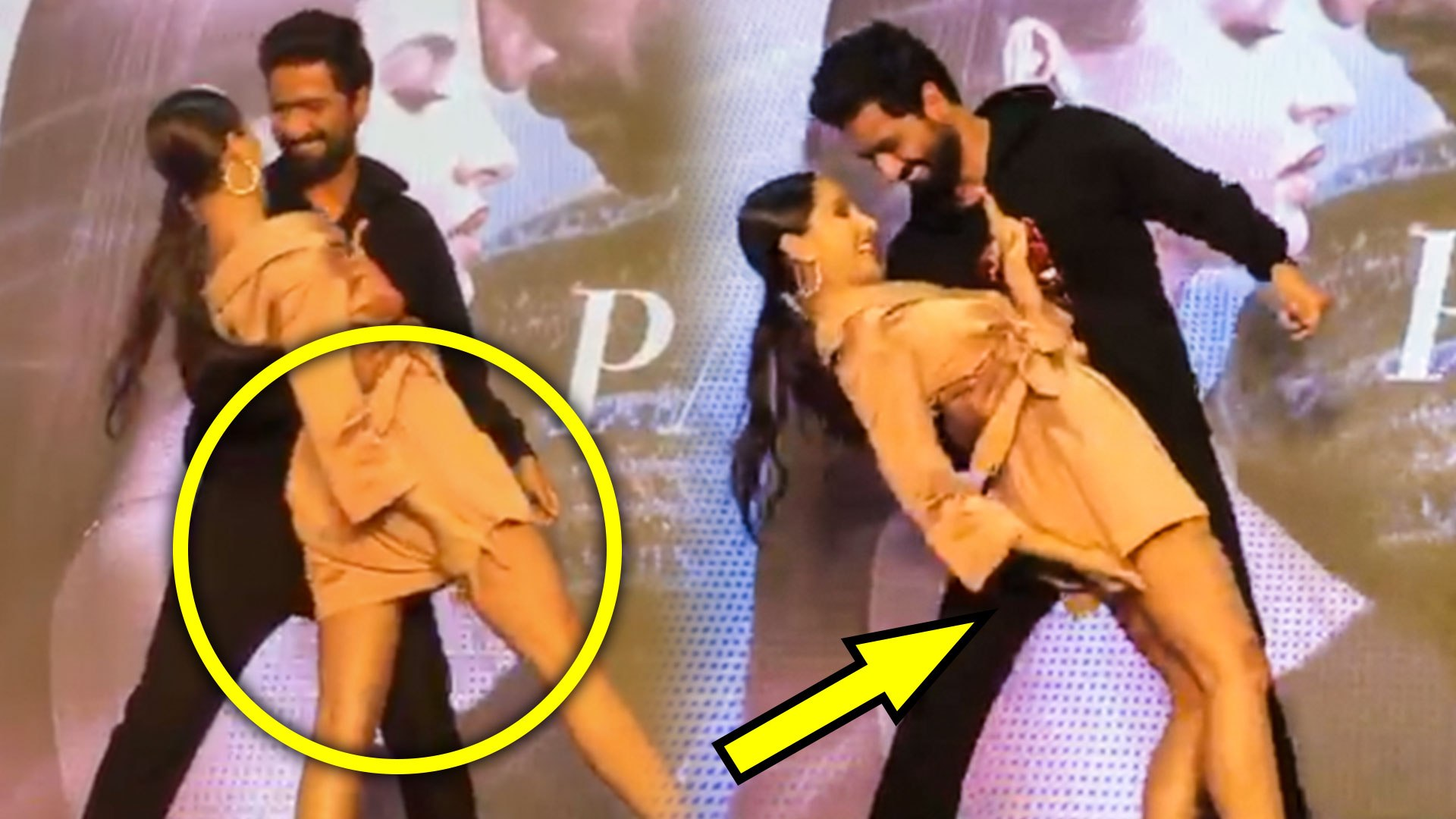 Vicky Kaushal SAVES Nora Fatehi From Wardrobe Malfunction | Pachtaoge Success Event