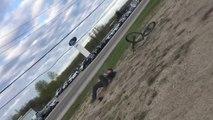 Biker Speeds Up on Slanting Platform and Crashes Hard