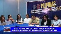 EO 70, makakatulong sa mga magulang ng mga kabataang na-recruit umano ng NPA