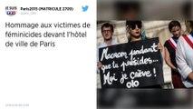 Un hommage aux victimes de féminicides devant l'hôtel de ville de Paris