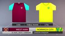 Match Preview: West Ham vs Norwich City on 31/08/2019