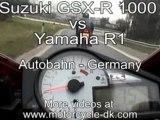 Street raceingt-Yamaha R1 vs Suzuki GSX-R 1000 Street Racing