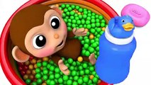 Learn Colors with Little Baby Monkey Baby Milk Bottle Bath Time Finger Song for Kid Children
