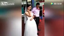 Cette jeune mariée refuse d'embrasser son mari...