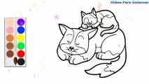 Coloration Famille de chat | Peindre pour les jeunes enfants et dessiner pour les enfants