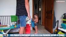 Ces parents préparent leur fils à sa première entrée à l'école !