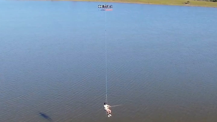 Fishing While Being Carried By A Giant Drone