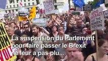 """Brexit: manifestation à Londres contre le """"coup"""" de Boris Johnson"""