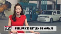 With the government's temporary fuel tax reduction period ending Saturday, gasoline prices in South Korea rose Sunday,... with prices in Seoul increasing the most. According to the state-run oil corporation, gas prices in Seoul were roughly one-point-thre