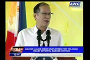 PNoy lauds DSWD for Yolanda relief efforts, bashes critics