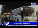 WATCH: Bus catches fire along SLEX