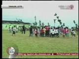 Beckham plays football with Leyte kids