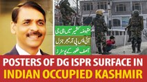 Posters of DG ISPR Maj-Gen Asif Ghafoor surface in Indian occupied Kashmir