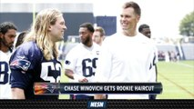 Tom Brady Gives Chase Winovich Rookie Haircut