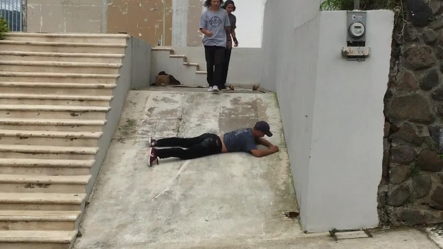Skateboarder Jumps Over Concrete Stairs and Breaks Arm