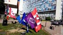 Grève des urgences devant l'hôpital Bel Air à Thionville