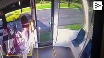A man breaks the door of a tram with an axe in Moscow