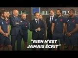 Macron encourage le XV de France avant la Coupe du monde