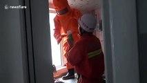 Ces pompiers enlèvent un nid de guêpes au lance flammes !