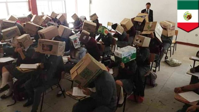 Teacher tries to stop cheating with cardboard boxes on heads