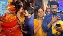 Hina Khan seeks blessing from Ganpati Bappa at Lalbaugcha Raja with BF Rocky Jaiswal | FilmiBeat