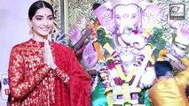 Beautiful Sonam Kapoor Visits Andhericha Raja To Seek Blessings
