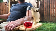 Woodworker builds chairs with massagers and beer dispensers