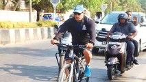 Salman Khan Enjoys Cycling In Mumbai Rains