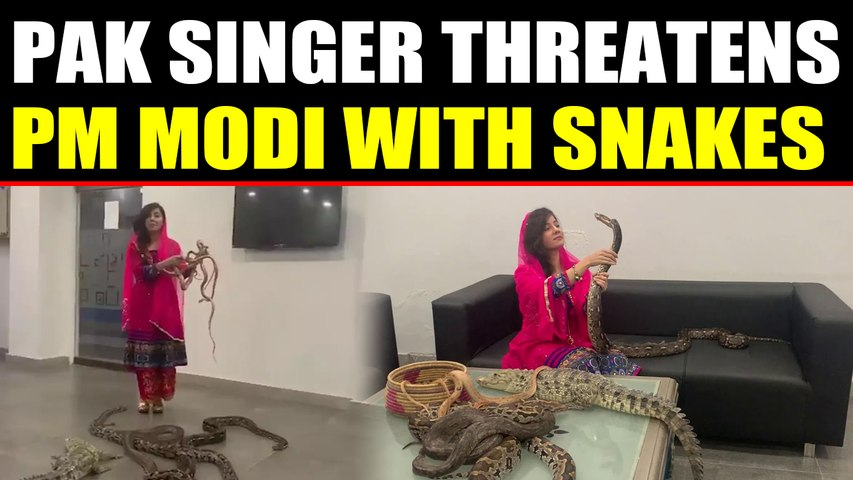 Pakistani Pop Singer Rabi Parizada threatens PM Modi with snake, video viral
