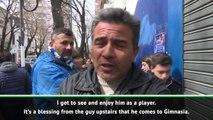 Gimnasia fans welcome Maradona to the club