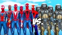 Predator Army VS Spiderman Suits - Spiderman, Iron Spider, Spider-Man 2002, Insomniac Spider-Man