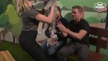Scarlett Johansson Crashes Matt Damon and Christian Bale's Puppy Photoshoot