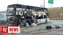 Double-decker bus catches fire at Sungai Perak R&R